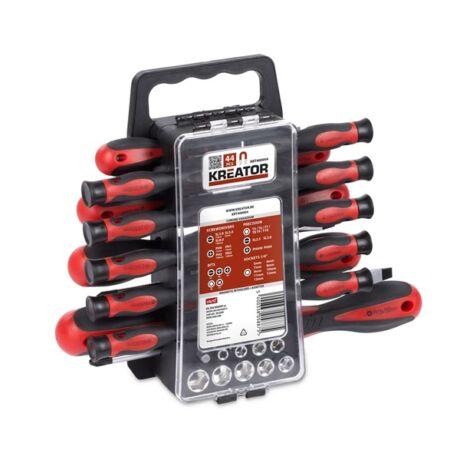 KREATOR Csavarhúzó és dugókulcs készlet mágneses (KRT400004) - 44 részes