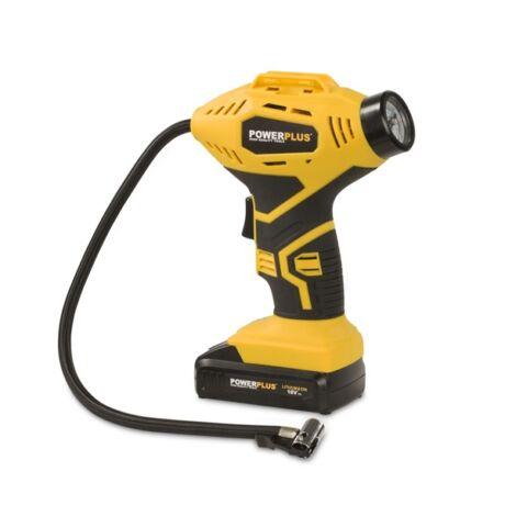 POWERPLUS Sárga akkumulátoros, kézi kompresszor (POWX1700) - 18 V