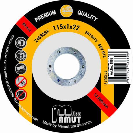 MAMUT TIM VÁGÓKORONG - PRÉMIUM-INOX/115x1x22 mm