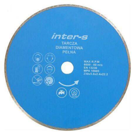 INTER-S Gyémánt vágótárcsa folytonos - 230x2,4x5,0x22,2 mm