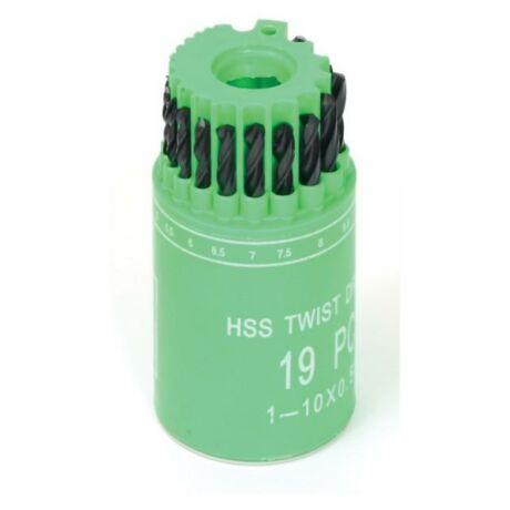 Csigafúró készlet HSS - 1-10 mm/19 részes