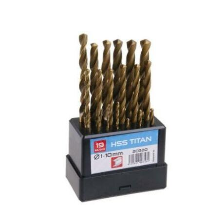 Csigafúró készlet HSS TiN - 1,0-10,0 mm/19 részes