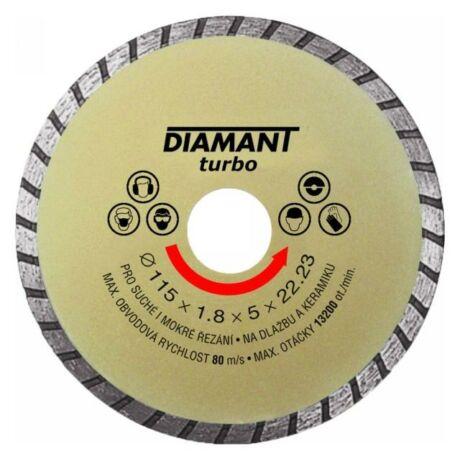 DIAMANT TURBO Gyémánt vágótárcsa - 115x1,8x5x22,2