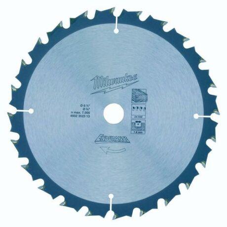 MILWAUKEE Fűrésztárcsa fához vídiás - 165x1,6x15,87x24 HW