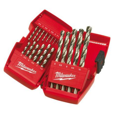 MILWAUKEE Csigafúró készlet HSS-G - 1-10 mm/ 19 részes