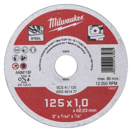 MILWAUKEE Vágókorong egyenes SCS 41 - fém/125x1,0x22,2