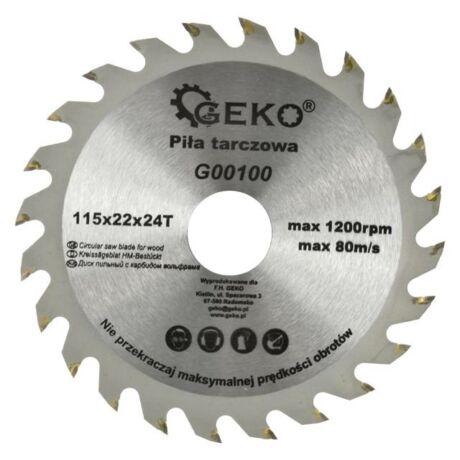 GEKO Fűrésztárcsa fához vídiás - 115x22x24