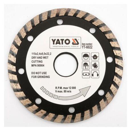 YATO TURBO Gyémánt vágótárcsa - 115x2,4x8,0x22,2