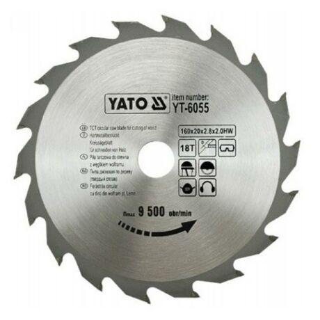 YATO TCT Fűrésztárcsa fához vídiás - 160x2,0x20x18 HW