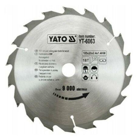 YATO TCT Fűrésztárcsa fához vídiás - 185x2,2x20x18 HW