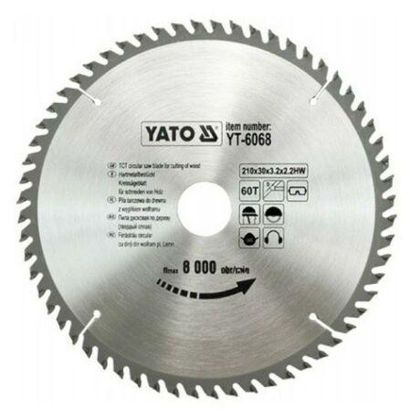 YATO TCT Fűrésztárcsa fához vídiás - 210x2,2x30x60 HW