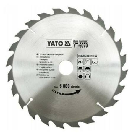 YATO TCT Fűrésztárcsa fához vídiás - 250x2,2x30x24 HW