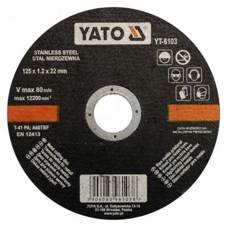 YATO Vágókorong - INOX/125x1,2x22