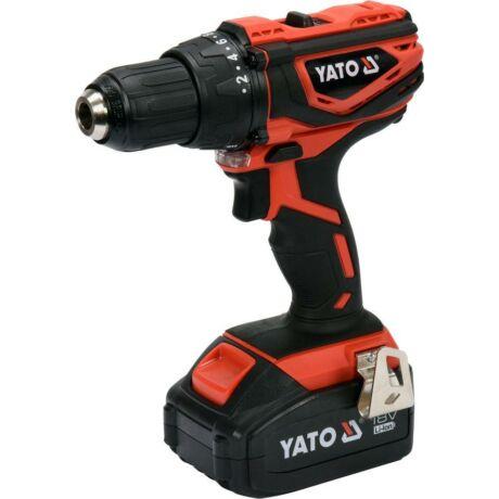 YATO Akkumulátoros ütvefúró-csavarozó (akkumulátor + töltő) - 18 V/2x3,0 Ah